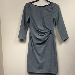 Tahari Gray 3/4 Sleeves wSilver Tone Buckle